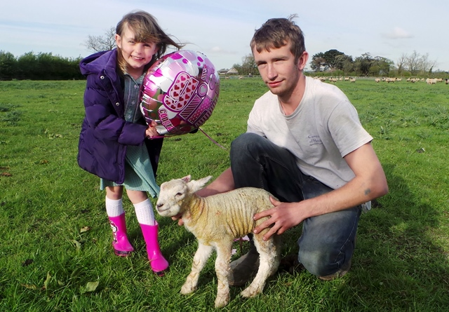 Charlotte the lamb with Emily and Cullum