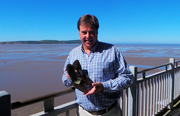 David Plaister with Jane Seymour's shoes