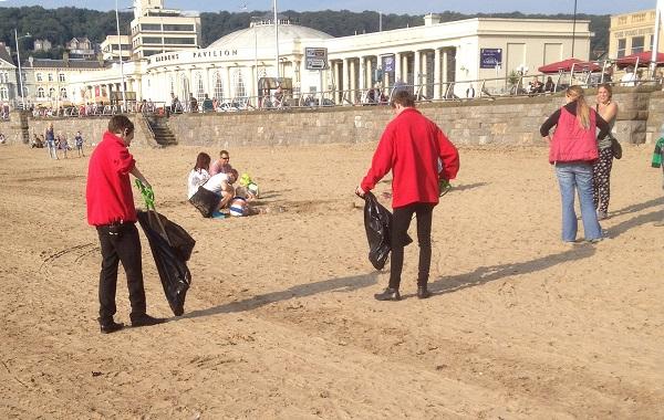 Grand Pier staff conduct Beach Clean